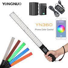 Yongnuo YN360 Cầm Tay Băng Dính Đèn LED Video Có Thể Điều Chỉnh Màu  Temperatur 3200 K Đến 5500 K RGB Nhiều Màu Sắc Được Điều Khiển Bởi ứng Dụng  Điện Thoại