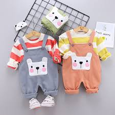2020 spring fall baby boys girls clothes outfit striped pullover ...