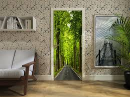 3d green forest path self adhesive door