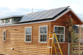 solar powered tiny house. Do It Your Self Tiny House With Wooden Materials And Solar Panel For Save Powered