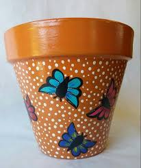 pottery hand painted pot erfly clay pot erfly design hand painted clay pot painted planter erfly planter painted flowerpot