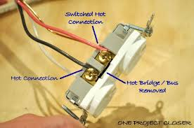wiring diagram for switch controlled outlet wiring video how to wire a half switched outlet one project closer on wiring diagram for switch