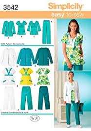 Scrub Patterns Extraordinary Amazon New Look Sewing Pattern 48 MissMen Scrubs Size A