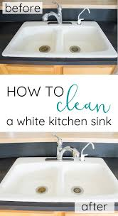 how to clean a white porcelain enameled cast iron farmhouse kitchen sink without chemicals