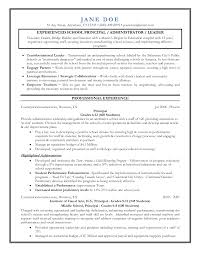 Elementary School Principal Resume Examples Principal resume entry level assistant templates senior educator 1
