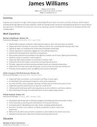 Manager Restaurant Resume