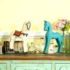 free retro wooden rocking horse ornaments animal gift vintage home decor statuette wood crafts