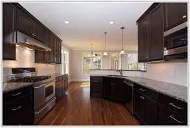 White Glass Tile Backsplash With Dark Cabinets Home Design Ideas