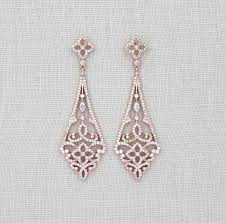 rose gold art deco earrings rose gold chandelier earrings swarovski bridal earrings crystal wedding earrings bridal jewelry vintage