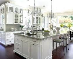 white kitchen light wood floor 2 chandeliers all white luxury kitchen industrial bar stools gray granite