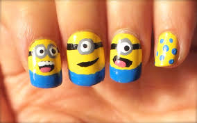 How To Do Minions Nail Art - YouTube