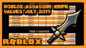 Roblox Assassin Value List July 2019 Summer