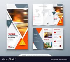 Trifold Brochure Design Orange Template For