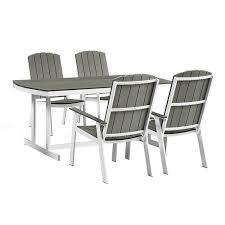 white coastal furniture. Walker Edison Furniture Company Coastal Grey/White 5-Piece Metal And Wood Outdoor Dining White T