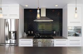 interior black subway tile backsplash with white kitchen cabinet and perfect excellent 6 black