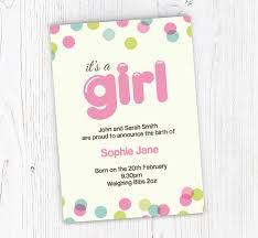 Online Announcement Cards Dotty Baby Girl Announcements