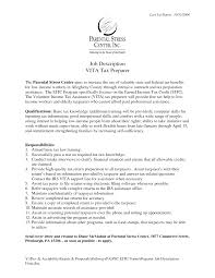 Tax Preparer Job Description Resume