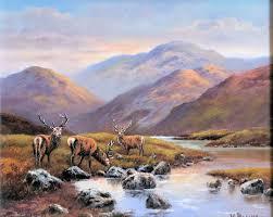 Stags on the Moorland - Wendy Reeves (Original Oil on Board) - £630.00  -Enid Hutt Gallery