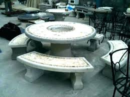 conc patio table round coffee molds and benches post concrete top outdoor plans