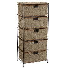 Wicker 5 Drawer Storage Unit