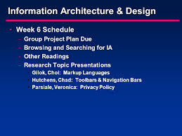 information architecture design week schedule group project  1 information architecture