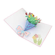 Dylandy Greeting Cards Teachers Day Christmas Creative 3d Stereo Small Cards Hand Cut Paper Birthday Blessing Bouquets Holiday Gifts