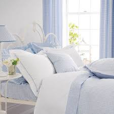 blue gingham bedding and curtains