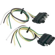 hopkins towing solutions 4 wire flat trailer wiring connector set 6 way trailer plug wiring at 4 Wire Trailer Wiring