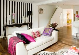 Wallpaper Living Room Feature Wall Black And White Accent Wall Striking Black And White Striped