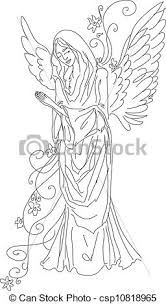 Angel Sketch Praying Angel Sketch Isolated