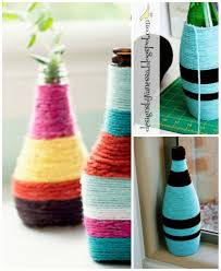 4 recycle flower vases diy yarn vases