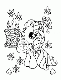Small Picture Little Pony and Birthday Cake coloring page for kids holiday