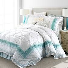 noble excellence mint green and white embroidered ethnic fl pattern quilted vintage shabby chic ruffle full queen size bedding sets