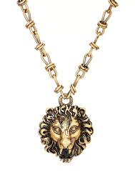 gucci men s lion head pendant necklace gold