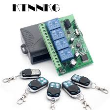 <b>KTNNKG</b> AC/<b>DC 12V</b> 24V <b>10A</b> Wireless Remote Switch 4CH Relay ...