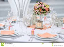 Table Set For An Event Party Or Wedding Reception Royalty Free