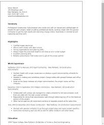 Construction Subcontractor Resume Template Best Design Tips