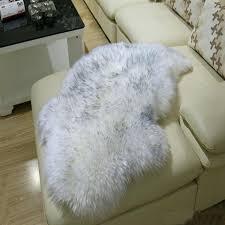 fur mat genuine sheepskin rug chair cover grey tip real fur carpet seat pad plain sheep