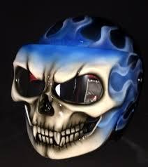 custom motorcycle helmet firestorm ghost rider blue fire skeleton