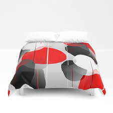 modern anxiety abstract red black gray duvet cover