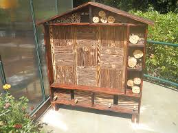 a bee house was built for the zoo s pollinator garden which provides diffe sizes of holes for native bee species which are particularly being affected