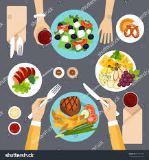 Awesome Dinner Table Top View Vector Illustration Stock For Dining