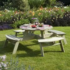 rowlinson round picnic table one garden