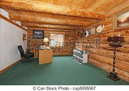 cabin office furniture. Log Cabin Office With Green Carpet And Desk Furniture
