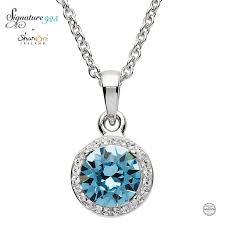 round silver halo pendant adorned with aquamarine and white swarovski crystals