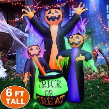 Outdoor Light Up Halloween Tree Amazon Com 6ft Halloween Inflatables Witch Halloween