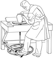 Small Picture Man Working on Pottery Wheel coloring page Free Printable