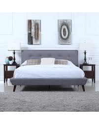 Get the Deal: Mid-Century Grey Linen Low Profile Platform Bed Frame ...