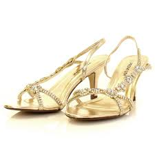 dimaond and rhinestones open toes back sling gold wide width wedding shoes full size