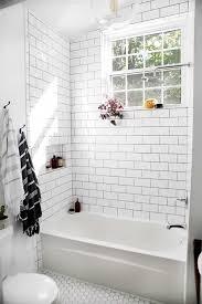 white subway tile shower floor